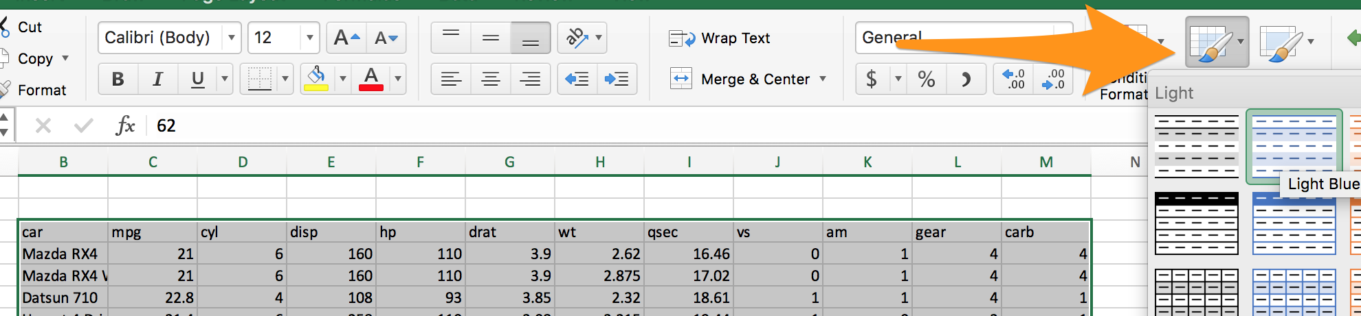 Format as an Excel Table